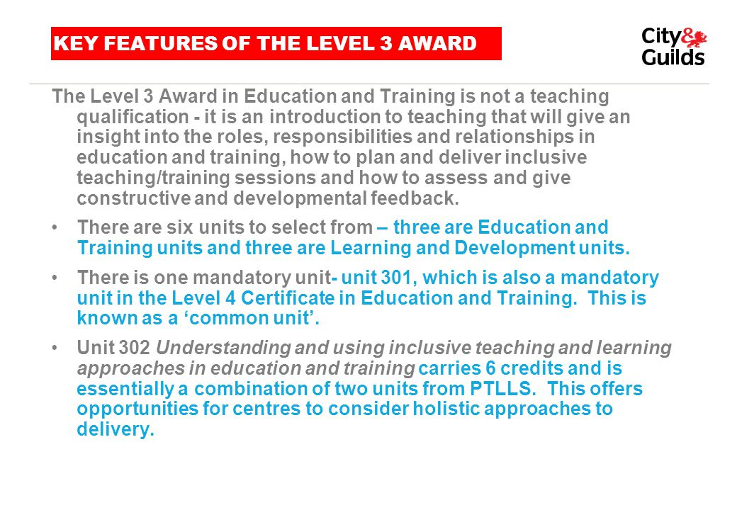 KEY FEATURES OF THE LEVEL 3 AWARD