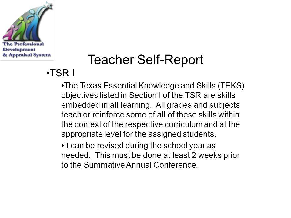 Teacher Self-Report TSR I