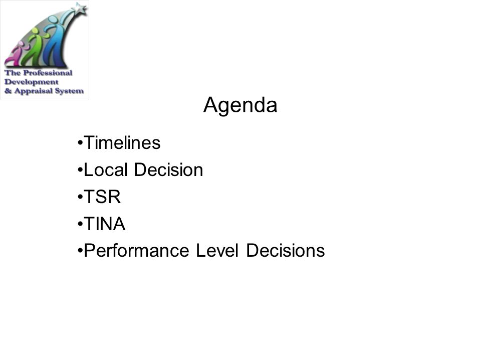 Timelines Local Decision TSR TINA Performance Level Decisions
