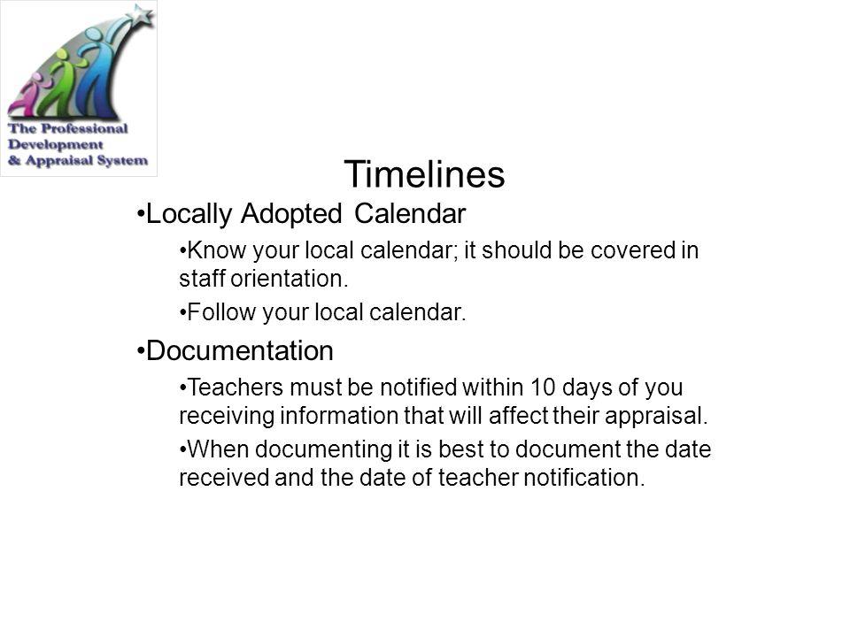 Timelines Locally Adopted Calendar Documentation