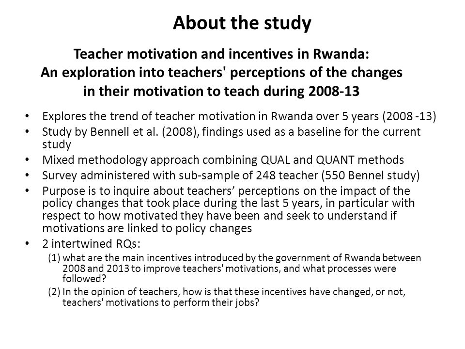 in their motivation to teach during 2008-13