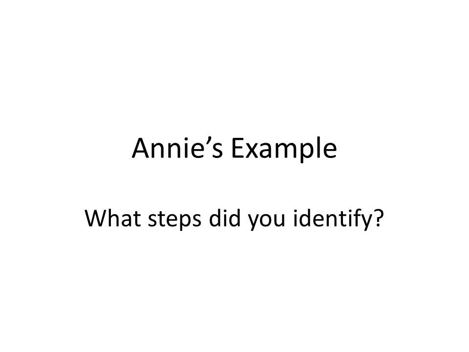 What steps did you identify