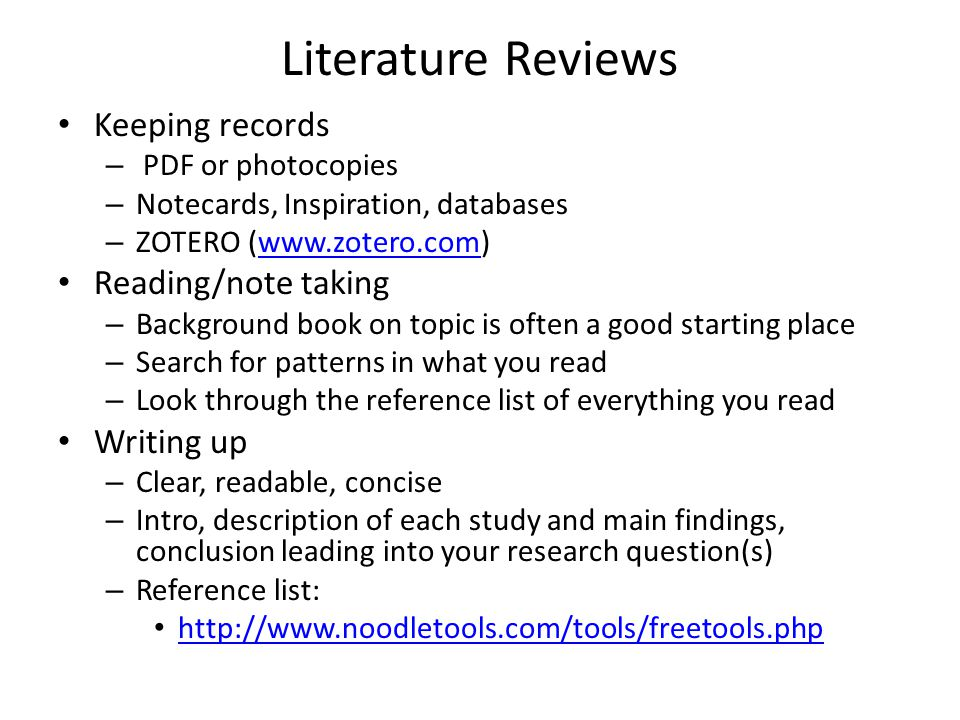 Literature Reviews Keeping records Reading/note taking Writing up