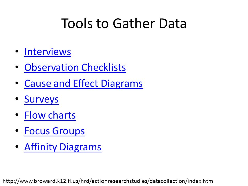 Tools to Gather Data Interviews Observation Checklists