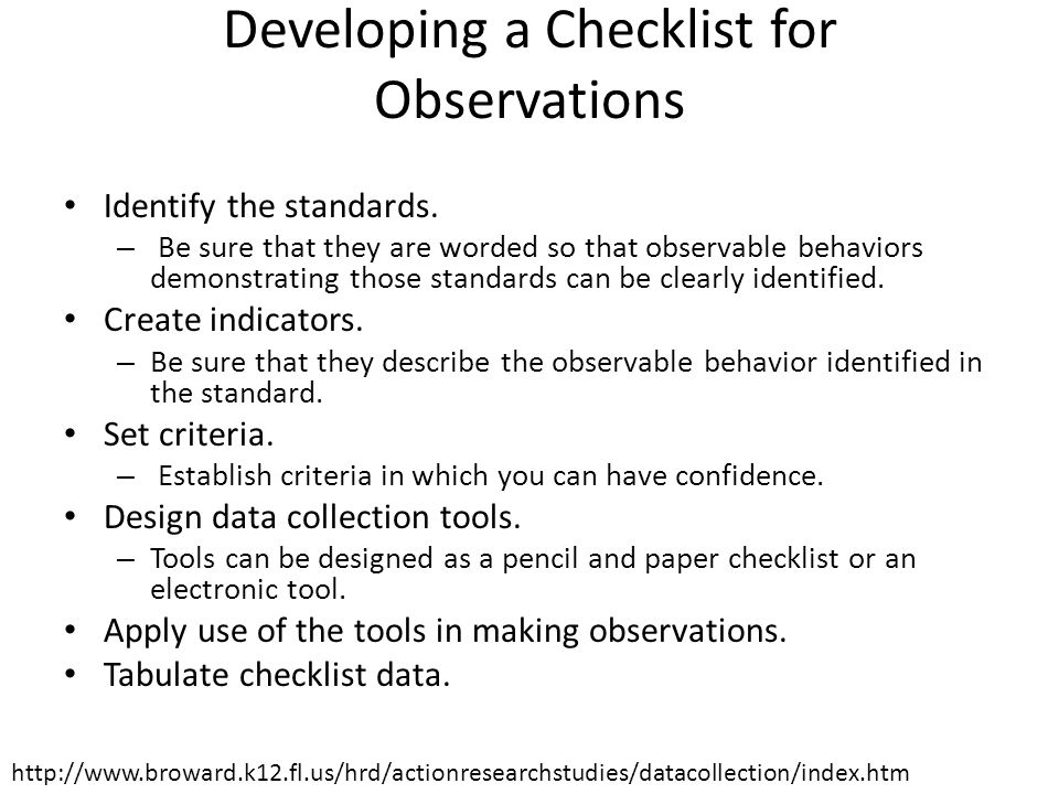 Developing a Checklist for Observations