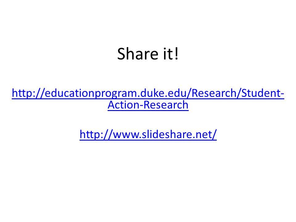 Share it. http://educationprogram.duke.edu/Research/Student-Action-Research.