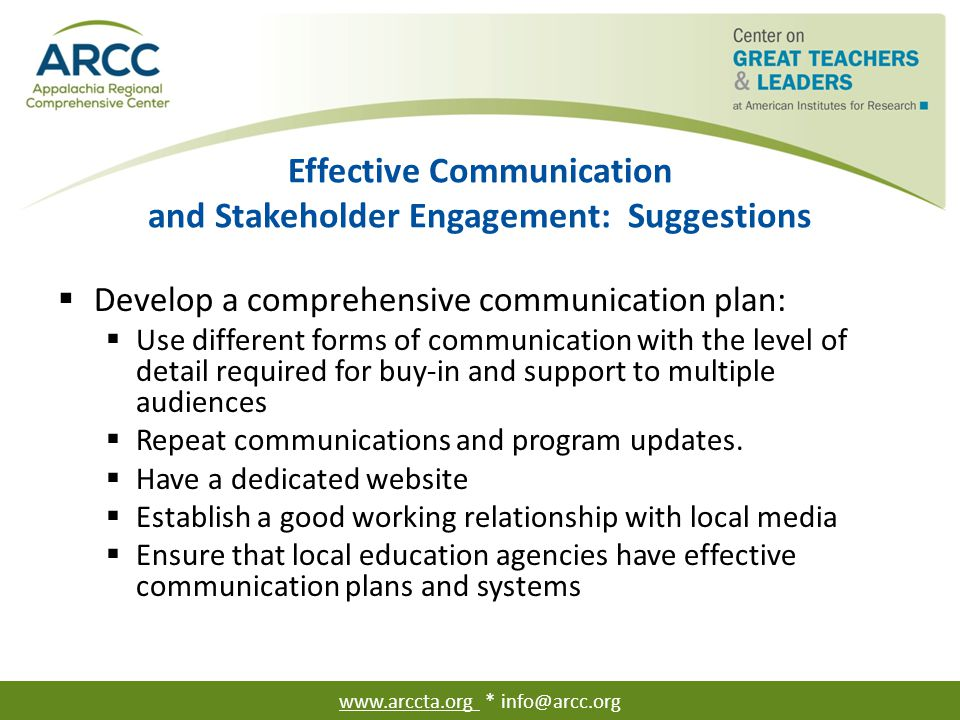 Effective Communication and Stakeholder Engagement: Suggestions