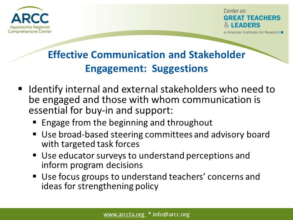 Effective Communication and Stakeholder Engagement: Everyone at the Table: Suggestions