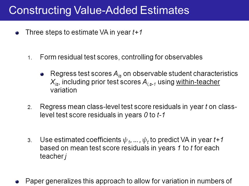 Constructing Value-Added Estimates