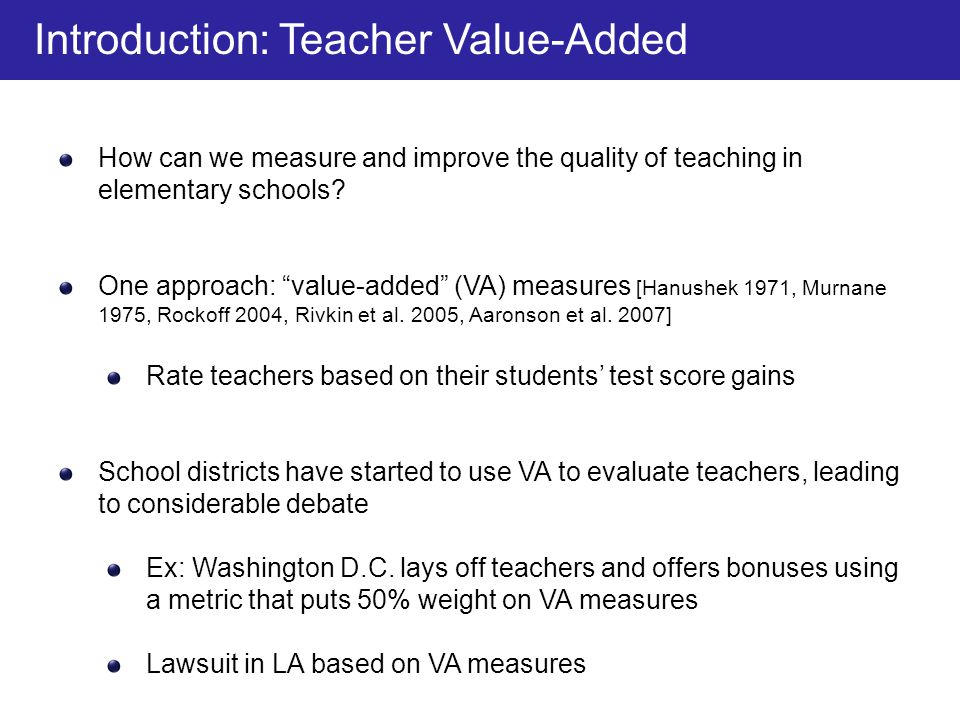 Introduction: Teacher Value-Added