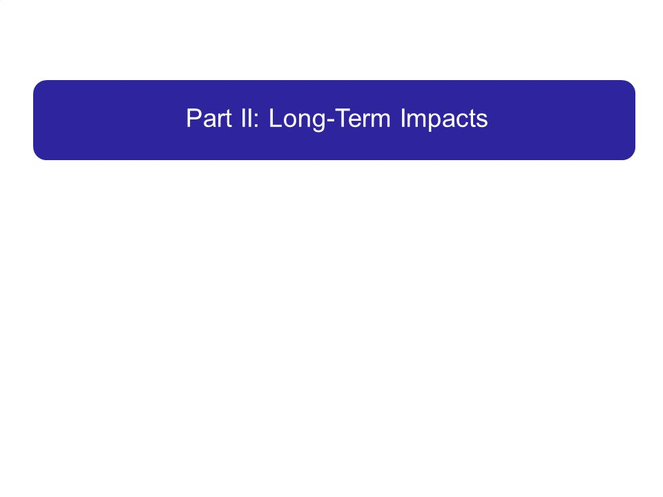 Part II: Long-Term Impacts