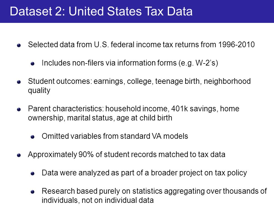 Dataset 2: United States Tax Data