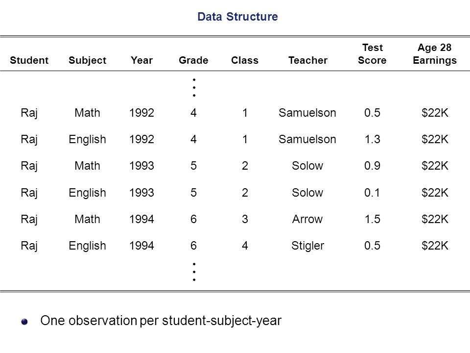 One observation per student-subject-year