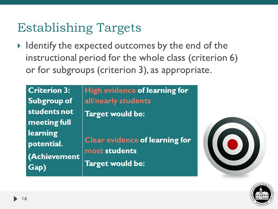 Establishing Targets