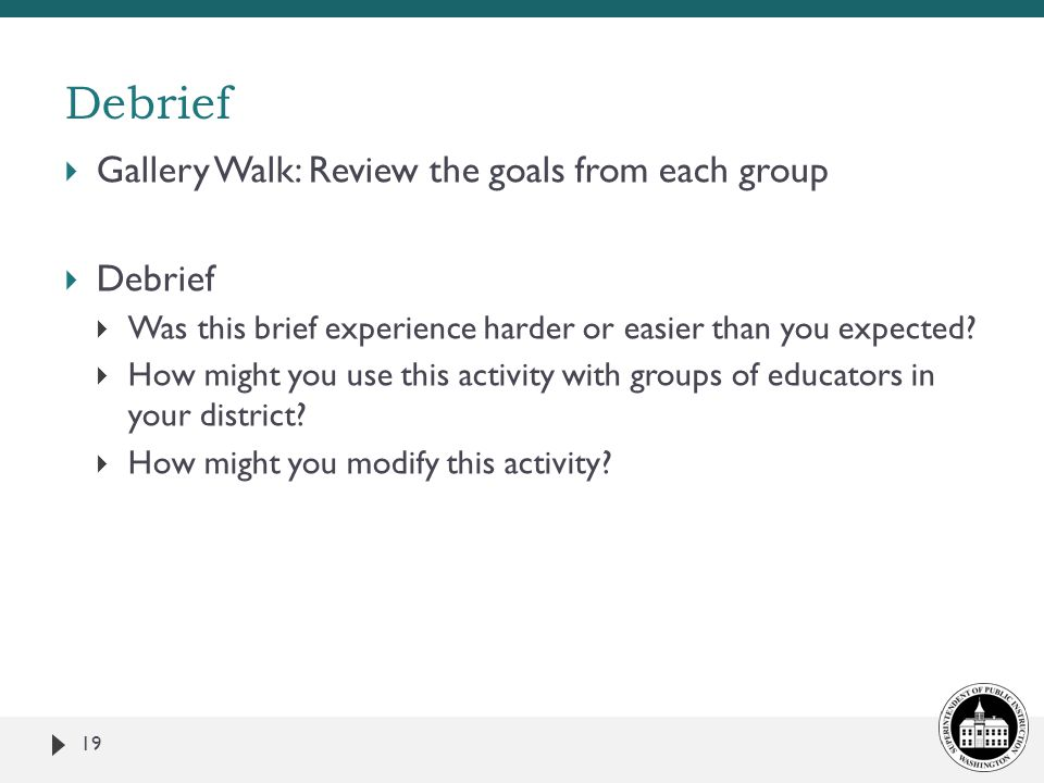 Debrief Gallery Walk: Review the goals from each group Debrief