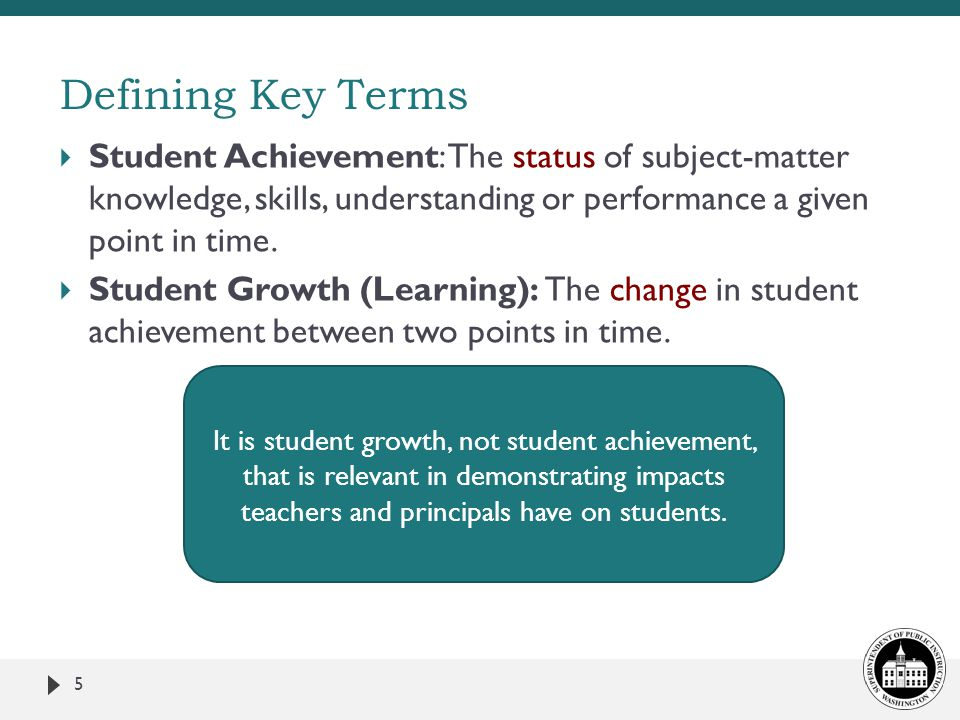 Defining Key Terms Student Achievement: The status of subject-matter knowledge, skills, understanding or performance a given point in time.