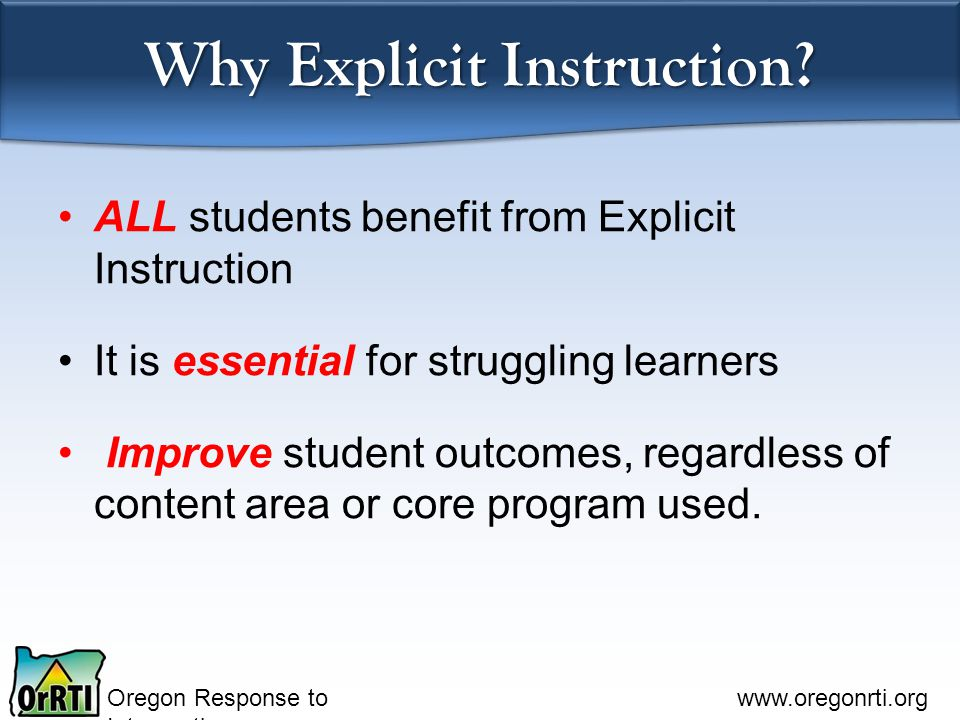 Why Explicit Instruction