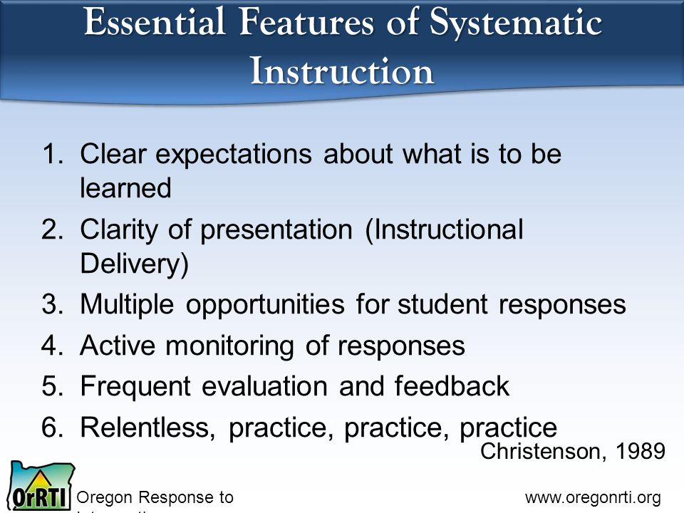 Essential Features of Systematic Instruction