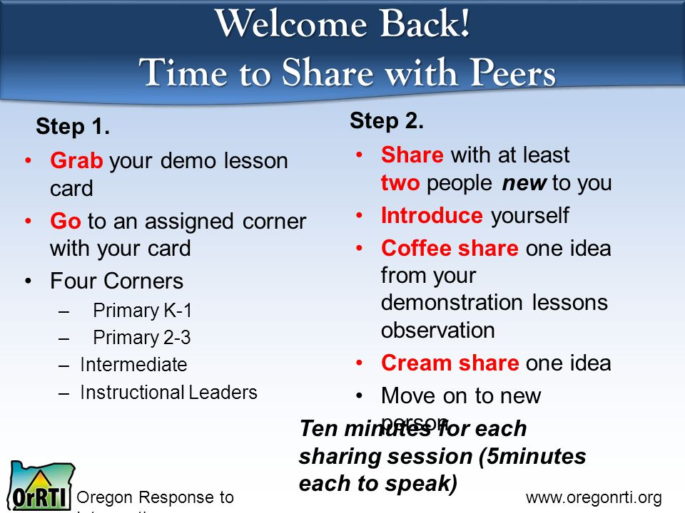 Welcome Back! Time to Share with Peers