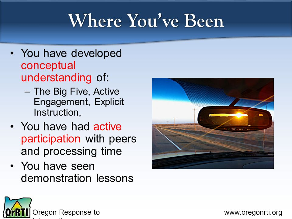 Where You've Been You have developed conceptual understanding of: