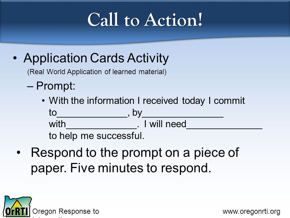 Call to Action! Application Cards Activity
