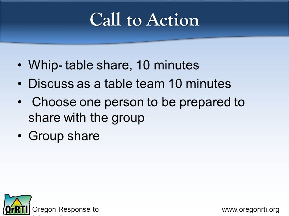 Call to Action Whip- table share, 10 minutes