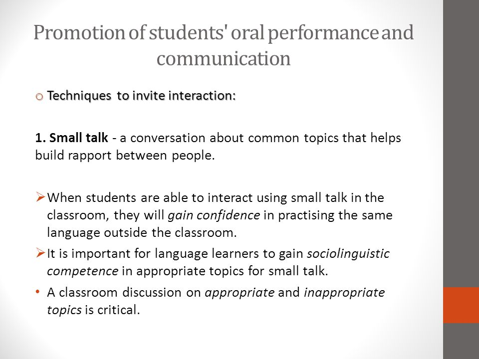 Promotion of students oral performance and communication