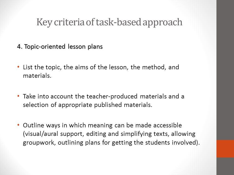 Key criteria of task-based approach