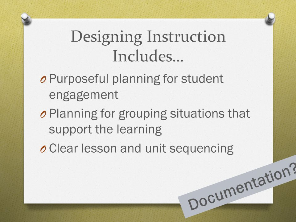 Designing Instruction Includes…