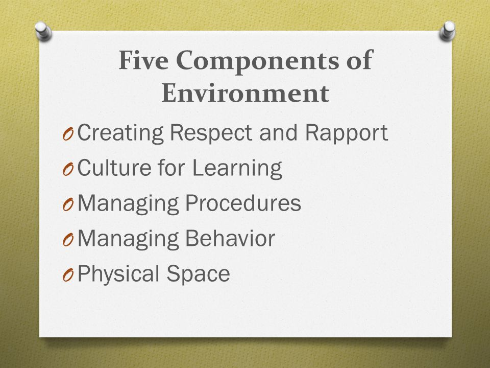 Five Components of Environment