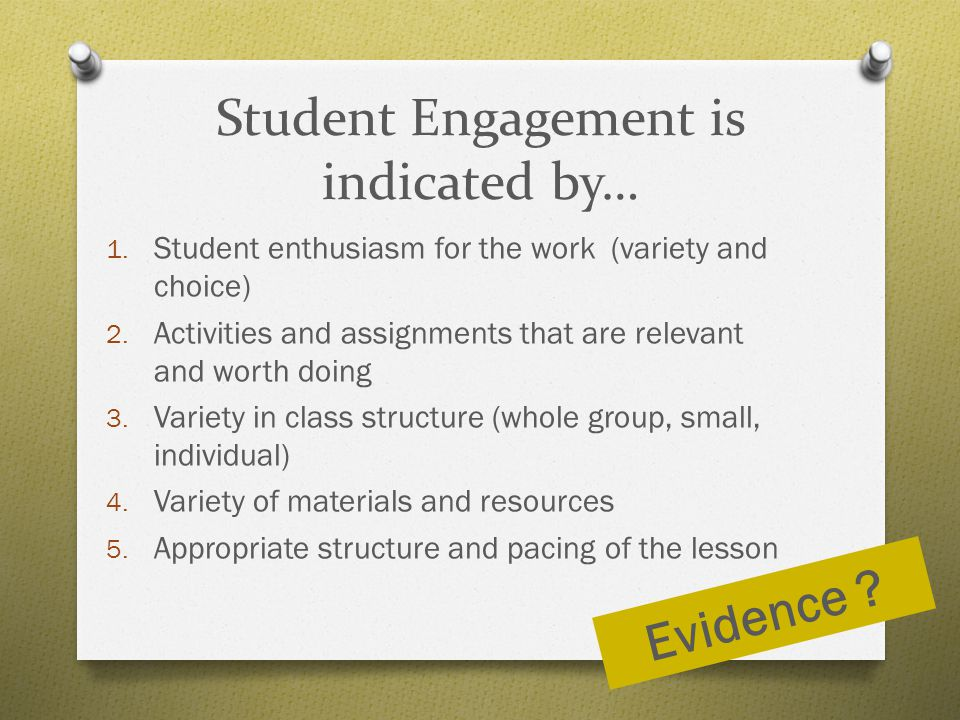 Student Engagement is indicated by…