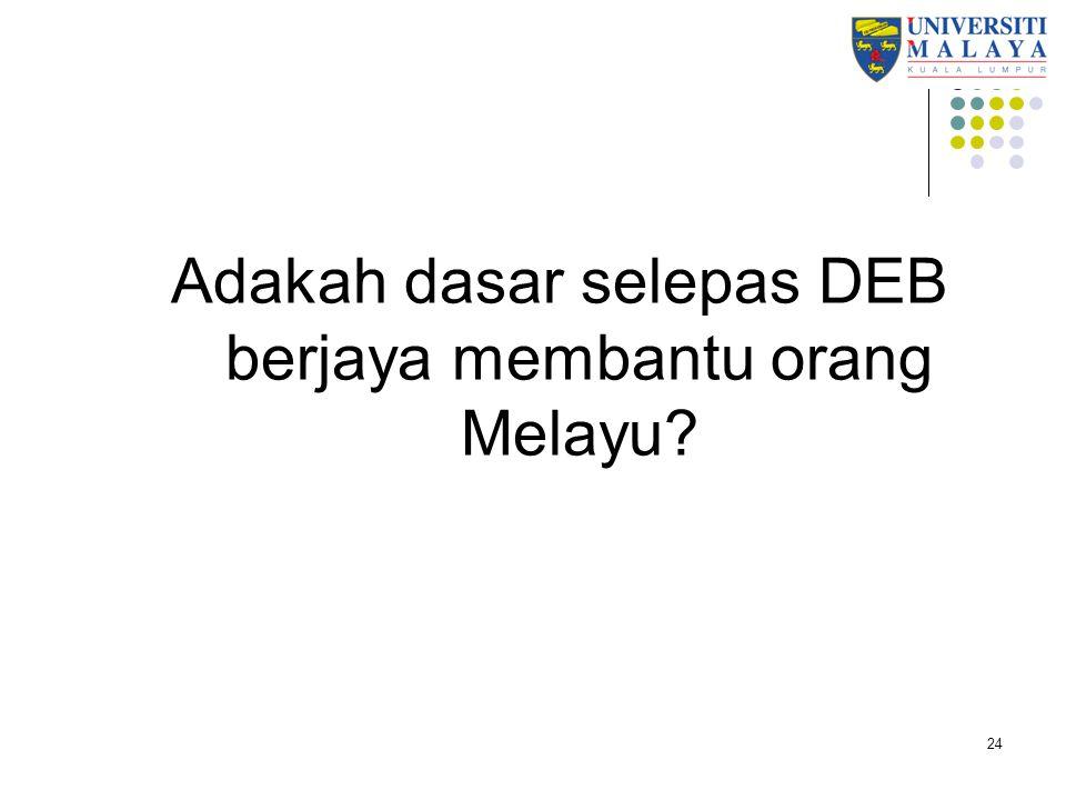 Adakah dasar selepas DEB berjaya membantu orang Melayu