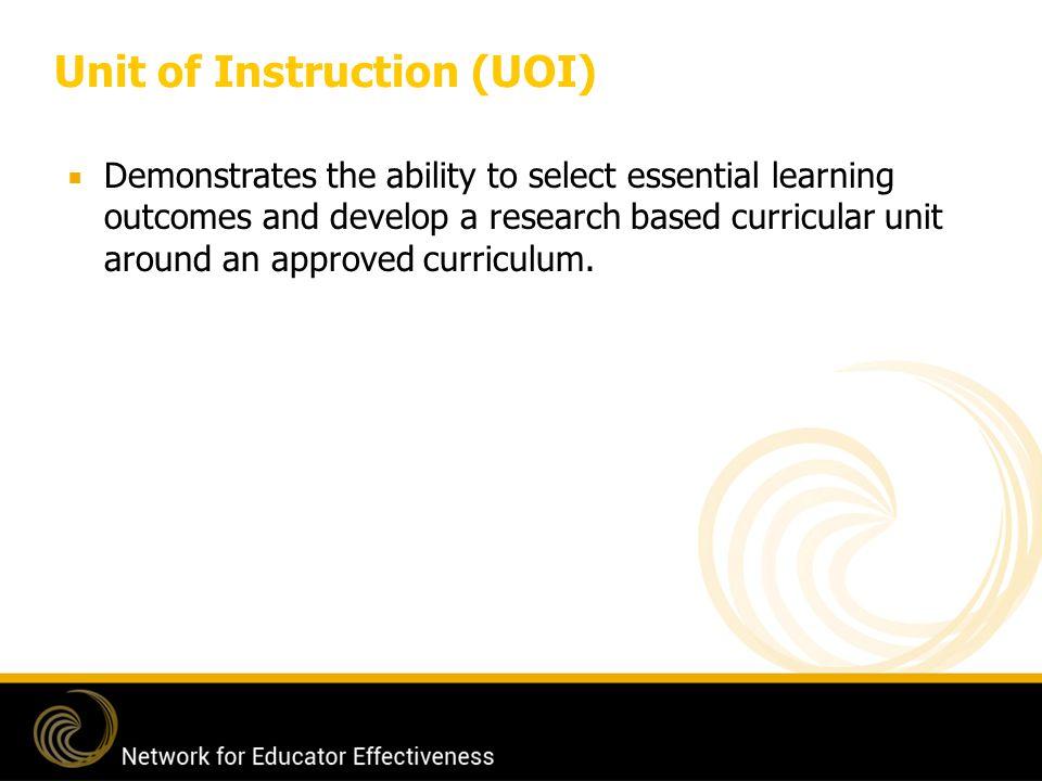 Unit of Instruction (UOI)