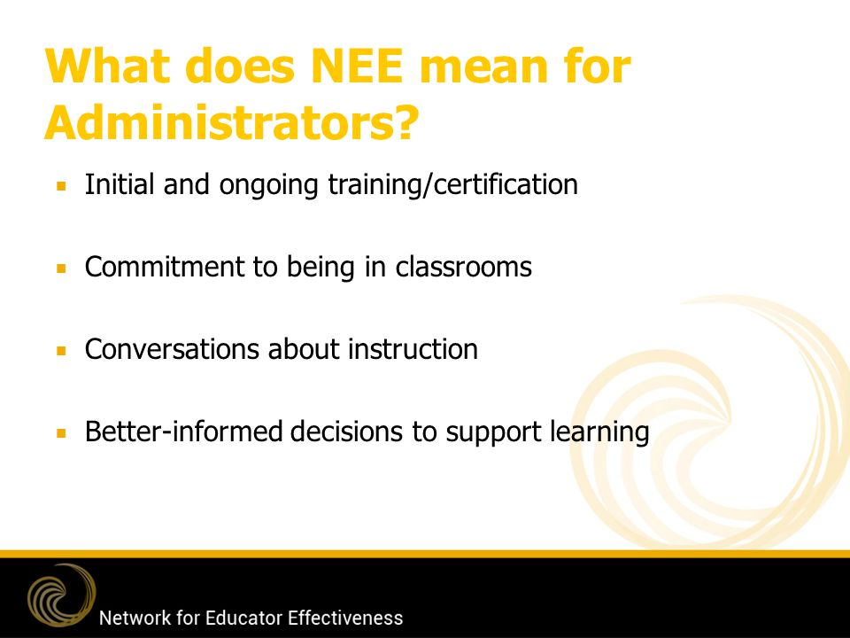 What does NEE mean for Administrators