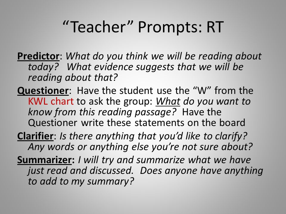 Teacher Prompts: RT Predictor: What do you think we will be reading about today What evidence suggests that we will be reading about that