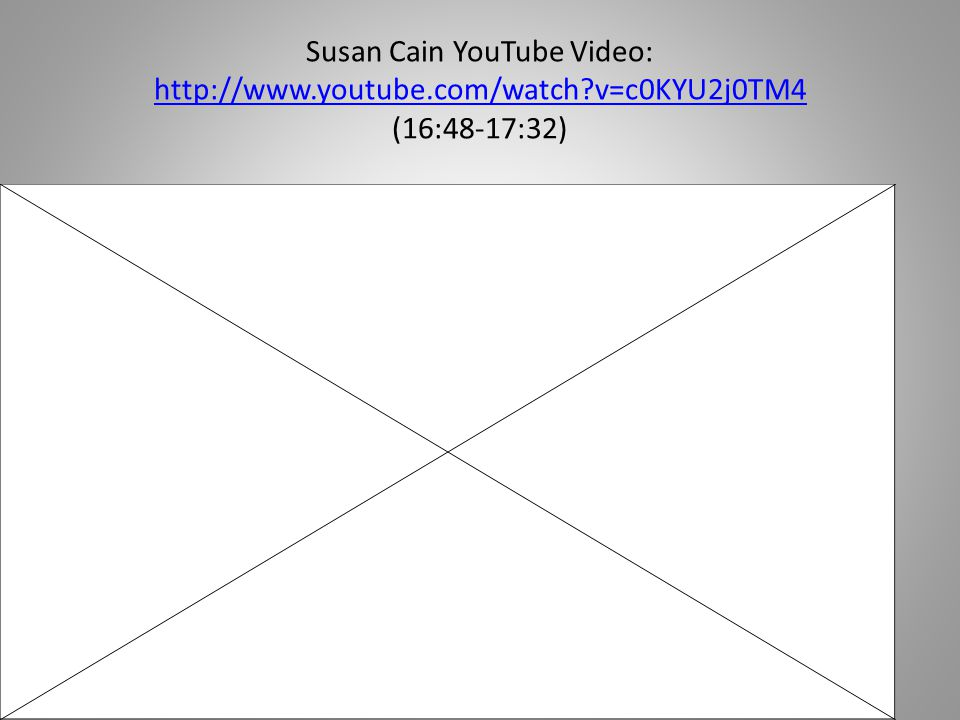 Susan Cain YouTube Video: http://www. youtube. com/watch