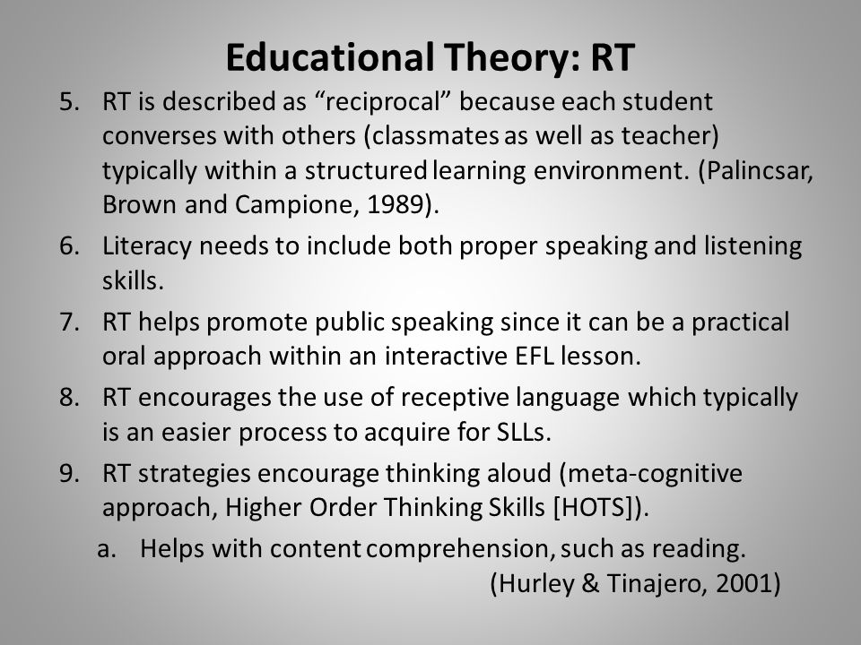 Educational Theory: RT