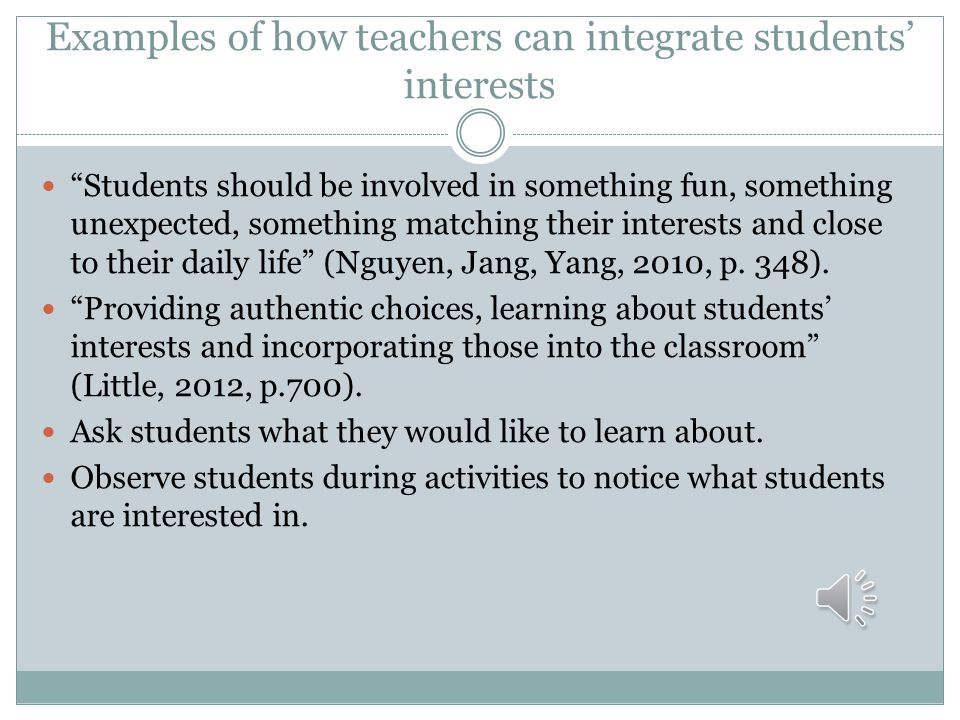 Examples of how teachers can integrate students' interests