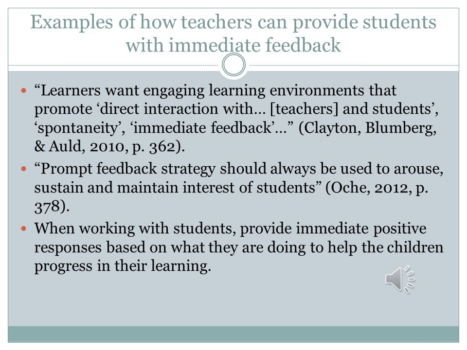 Examples of how teachers can provide students with immediate feedback