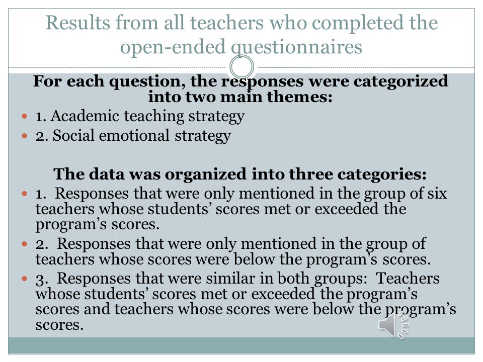 Results from all teachers who completed the open-ended questionnaires