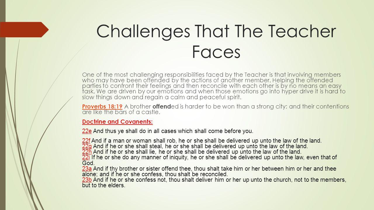 Challenges That The Teacher Faces