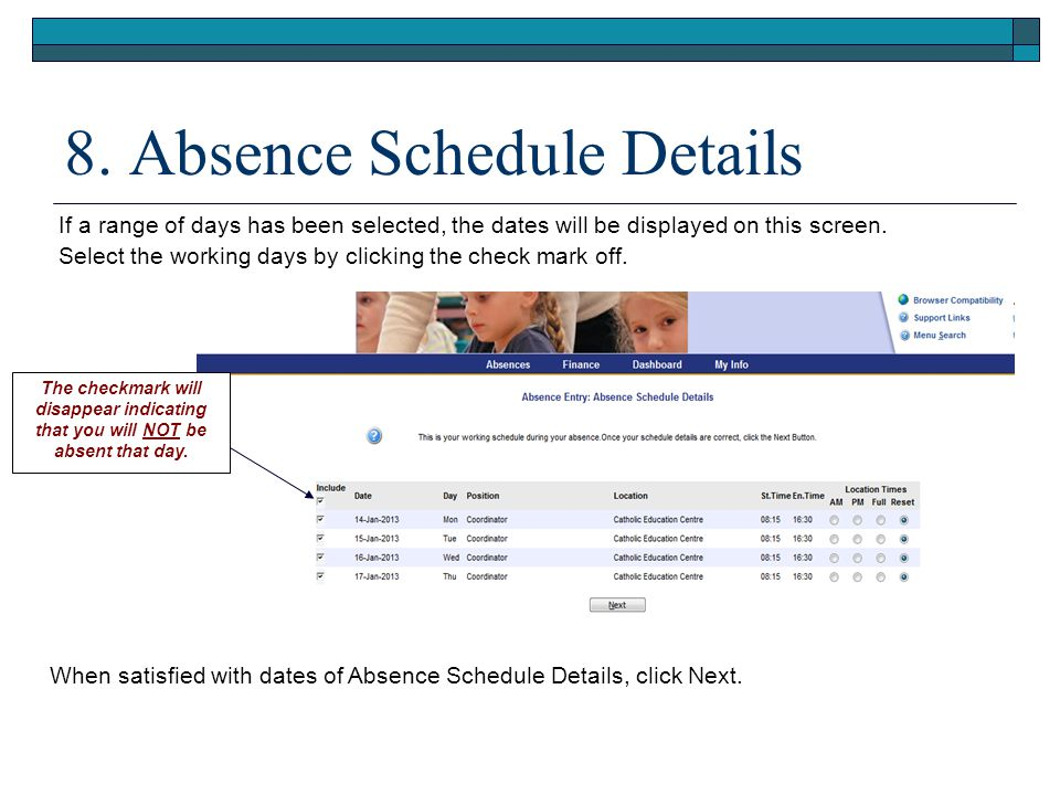 8. Absence Schedule Details