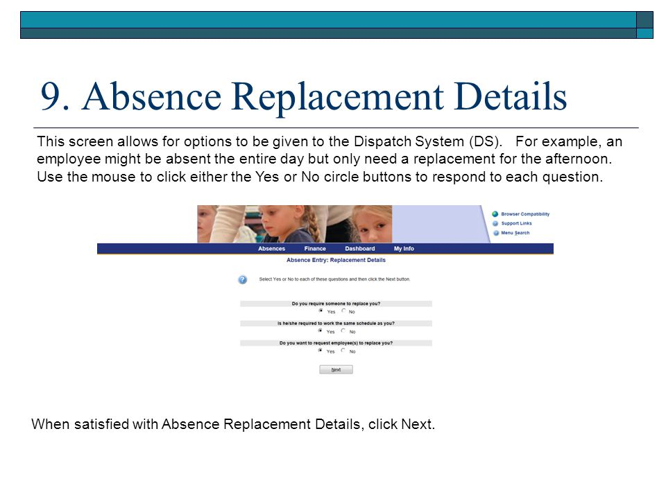 9. Absence Replacement Details