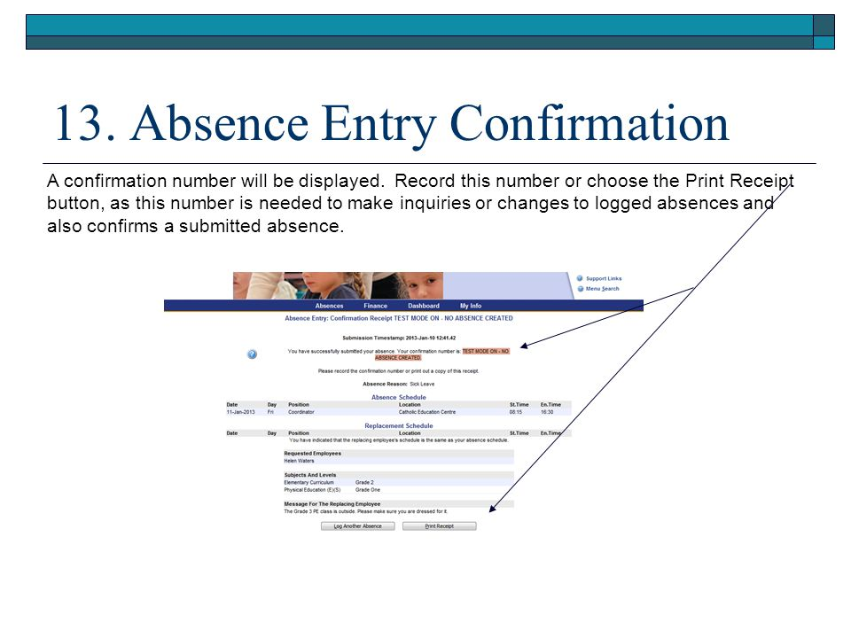 13. Absence Entry Confirmation