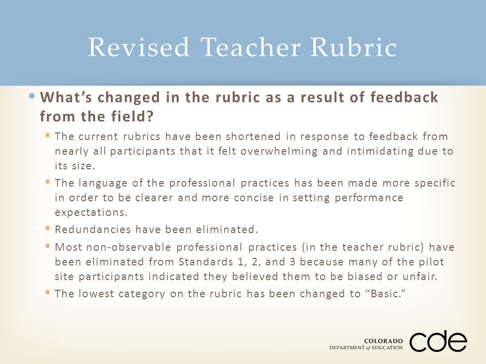 Revised Teacher Rubric