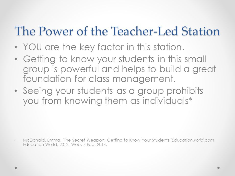 The Power of the Teacher-Led Station