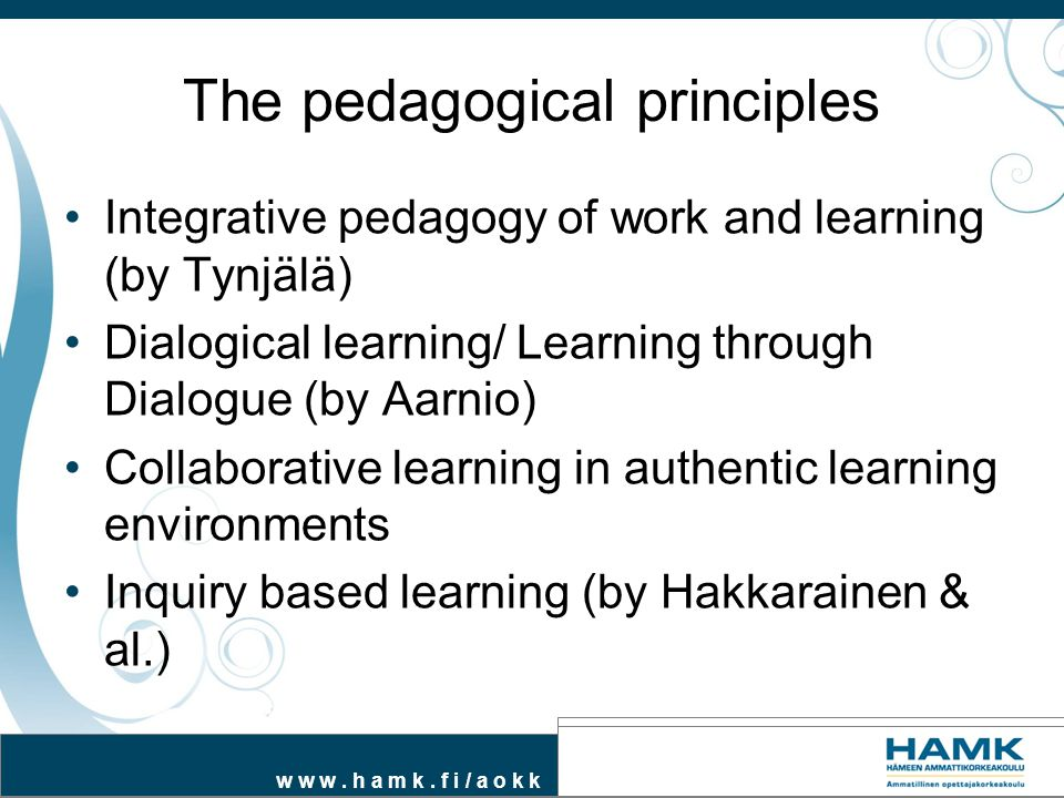 The pedagogical principles
