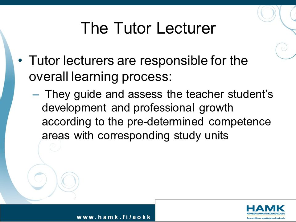 The Tutor Lecturer Tutor lecturers are responsible for the overall learning process: