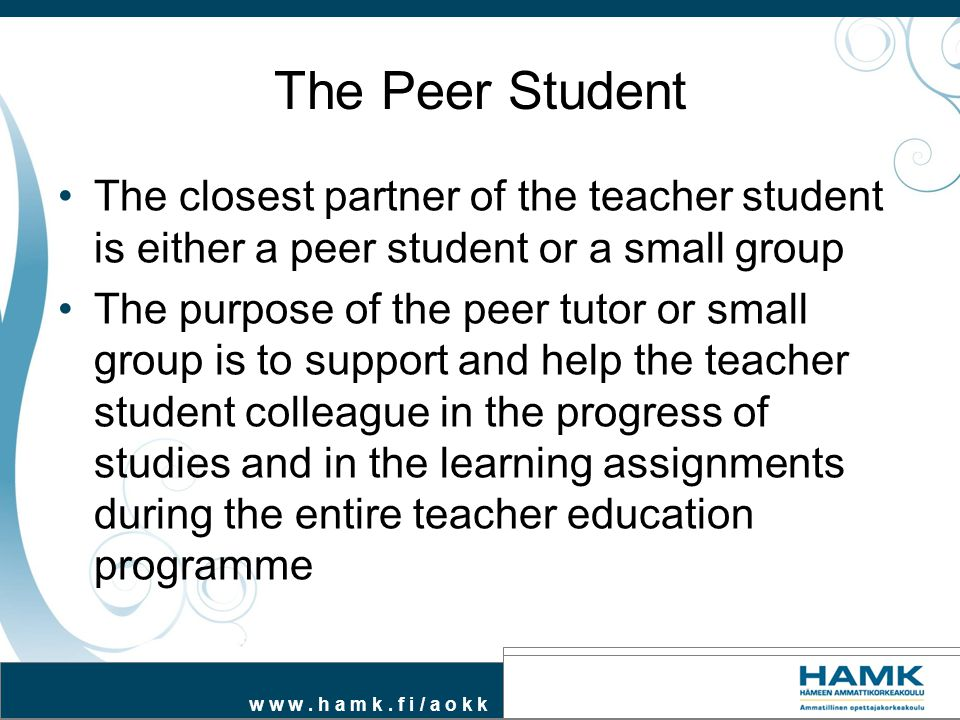 The Peer Student The closest partner of the teacher student is either a peer student or a small group.