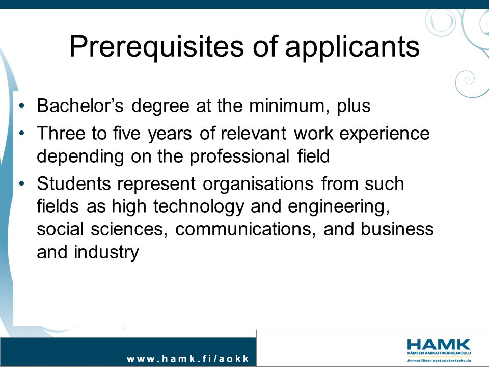 Prerequisites of applicants